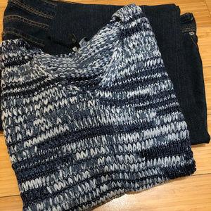 Eileen Fisher Blue Grey sweater Linen Cotton M